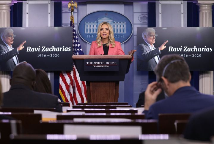 White House Press Secretary Kayleigh McEnany praises Christian evangelist Ravi Zacharias after his death, during a news brief