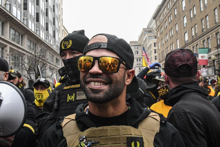 Enrique Tarrio, leader of the Proud Boys, during a protest on Dec. 12, 2020, in Washington, D.C.