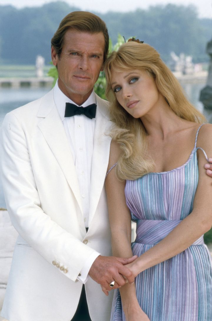 """""""James Bond"""" actor Roger Moore and Tanya Roberts on the set of """"View To Kill""""."""