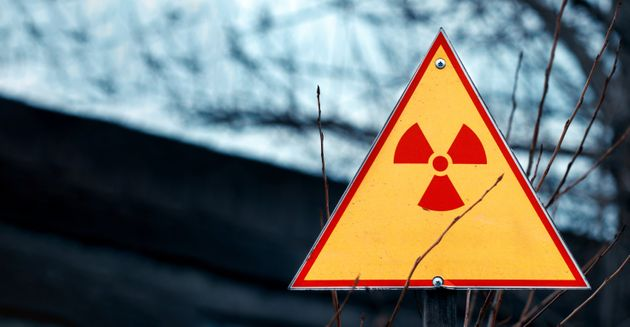 Sign of radiation hazard against radioactive waste, picture with a place for your text, copy space, your...