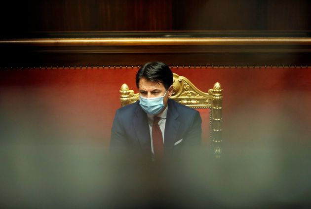 Italian Prime Minister Giuseppe Conte addresses the upper chamber, the Senate, in Rome, Italy December...
