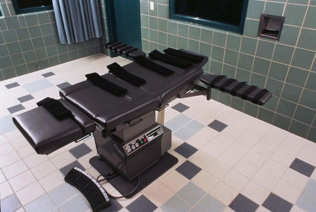 The execution chamber used for federal executions at the U.S. Penitentiary in Terre Haute,