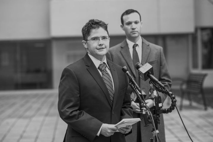 Navy Petty Officer 1st Class Brock Stone speaks to reporters in Baltimore on Nov. 9, 2017. Heis one of several plaintiffs suing the Trump administration over a transgender ban.