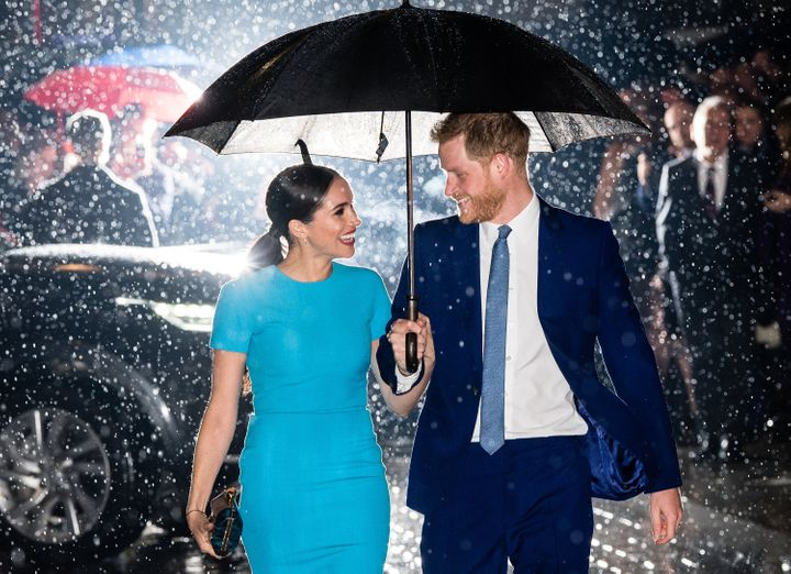 Prince Harry and Meghan Markle at the Endeavour Fund Awards in London on March 5, 2020. It was one of their very last royal engagements before stepping down.