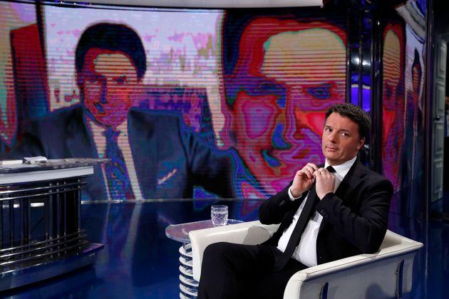 Italian politician Matteo Renzi guest at the Porta a Porta television broadcast. In the background the...
