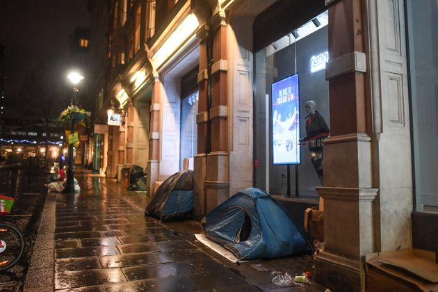 Homeless people's tents in London, where the number of new rough sleepers has risen amid the economic...