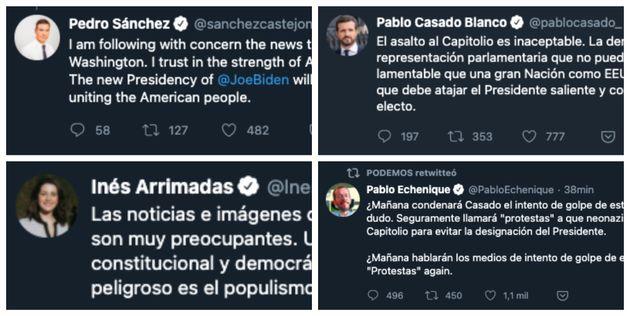 Reacciones en Twitter de los principales líderes políticos de España ante el asalto al Capitolio de