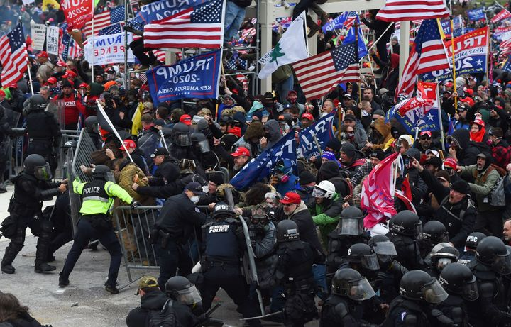 Extremists clash with police in Washington, D.C. on Wednesday, Jan. 6.