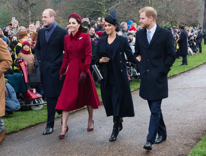 Meghan and Harry with Prince William and his wife Kate Middleton on Christmas Day, 2018. At the time the photo was taken, none of them were allowed to do anything to earn their own money.