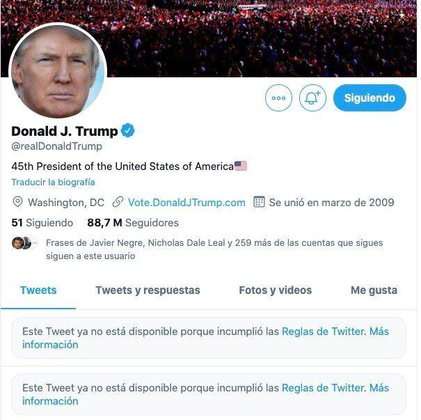 Cuenta en Twitter de Donald