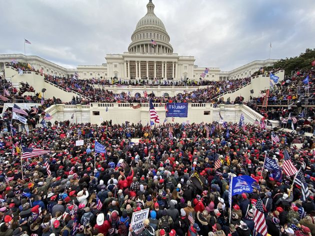 US President Donald Trumps supporters gather outside the Capitol building in Washington DC, United States...