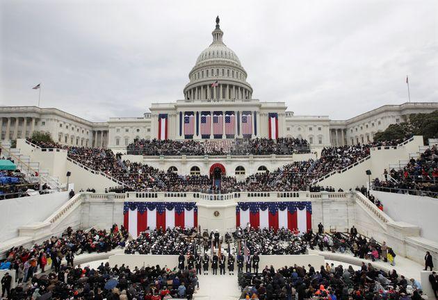 Donald Trump, 45e président des Etats-Unis, lors de son discours d'investiture devant le Capitole,...