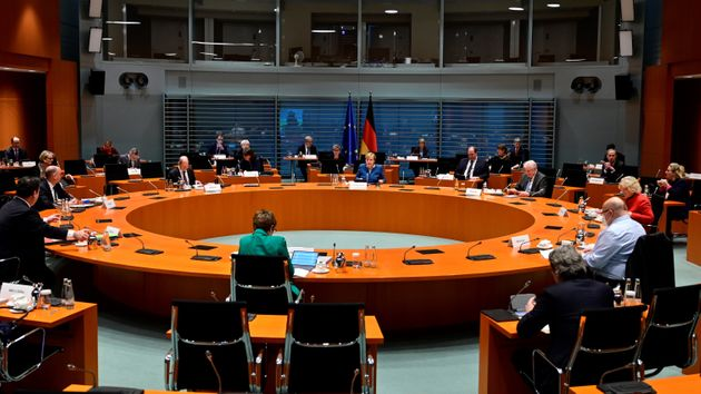 A general view taken on January 6, 2021 shows members of cabinet attending the weekly cabinet meeting...