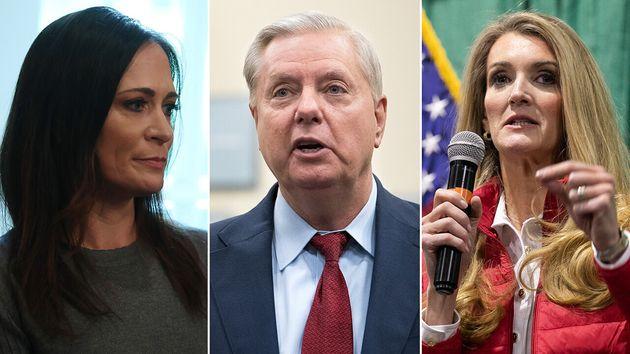 Stephanie Grisham, Lindsey Graham et Kelly Loeffler (de gauche à droite) font partie des responsables...