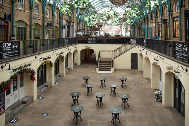Closed shops and cafes in Covent Garden,