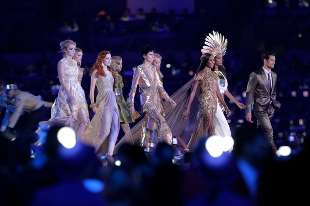 Stella walked the runway with fellow models Naomi Campbell, Kate Moss, David Gandy and Lily Cole during...