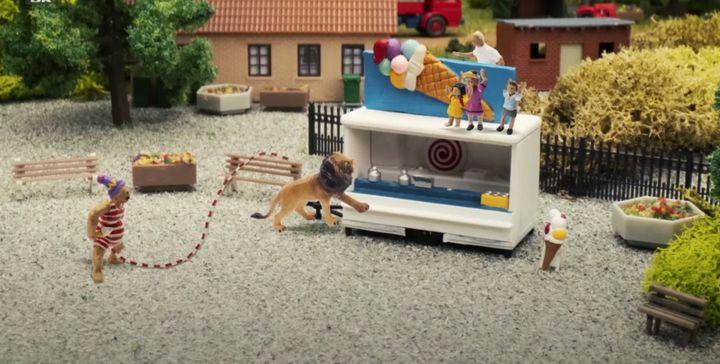 "A scene from Danish children's show ""John Dillermand."""