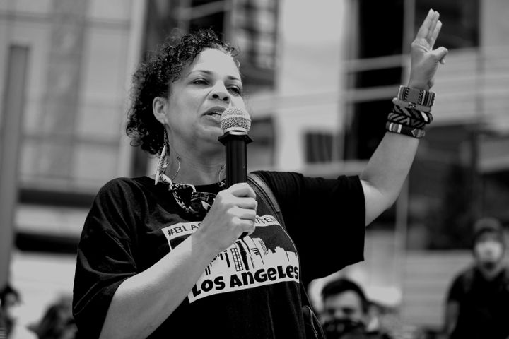 Melina Abdullah participates in the Hollywood talent agencies march to support Black Lives Matter protests in Beverly Hills, California, in June 2020.