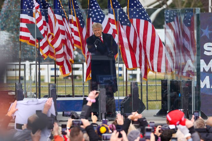 """President Donald Trump speaks at the """"Save America March"""" in Washington on Wednesday."""