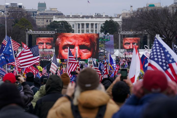Trump supporters participate in a rally Wednesday, Jan. 6, in Washington. Thousands of people have gathered to show their sup