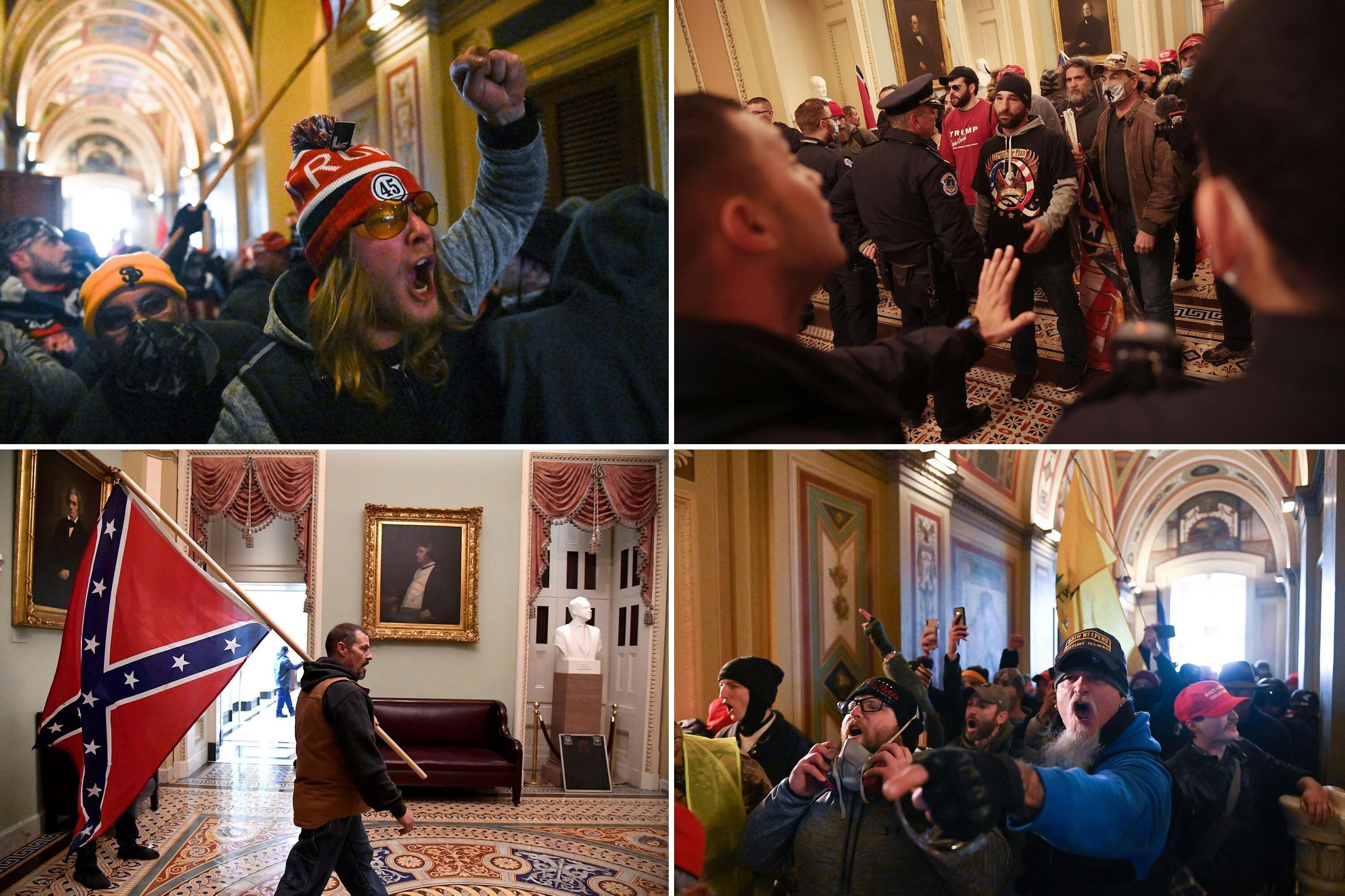 Top left: Trump supporters riot inside the U.S. Capitol on Jan. 6, 2021. Top right: Protesters interact with Capitol Police d