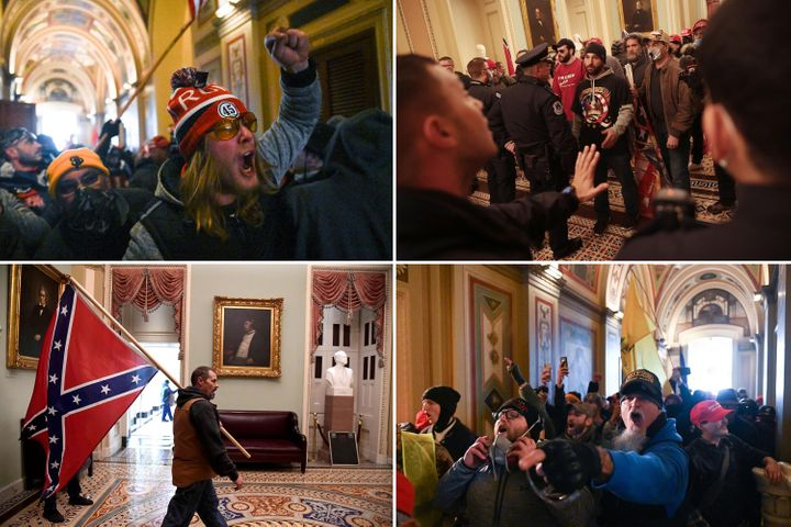 Top left: Trump supporters riot inside the U.S. Capitol on Jan. 6, 2021. Top right: Protesters interact with Capitol Police during the insurrection. Bottom left: A Trump supporter carries a Confederate battle flag on the second floor of the U.S. Capitol near the entrance to the Senate. Bottom right: Trump supporters enjoy their riot.