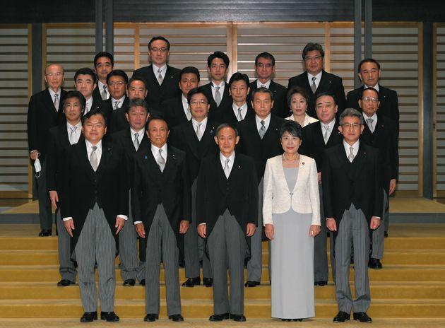 菅首相と閣僚ら 撮影日:2020年09月16日
