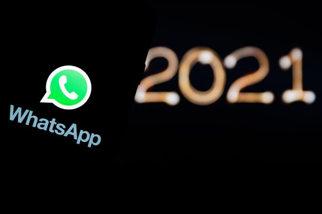 POLAND - 2020/12/30: In this photo illustration a Whatsapp logo seen displayed on a smartphone. (Photo...