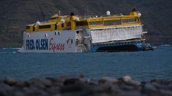 Encalla sin heridos un ferry de pasajeros junto al muelle de Agaete (Gran