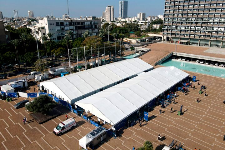A large vaccination centre open by the Tel Aviv-Yafo Municipality and Tel Aviv Sourasky Medical Center pictured on December 31, 2020.