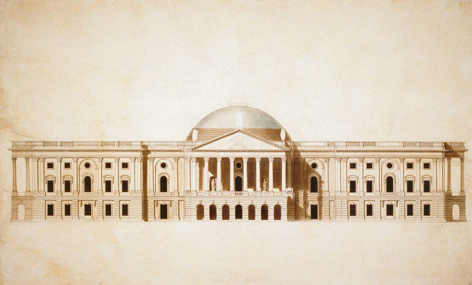 Μια υδατογραφία του Καπιτωλίου σχεδιασμένη από τον Γουίλιαμ Θόρντον το 1795 ή το 1796
