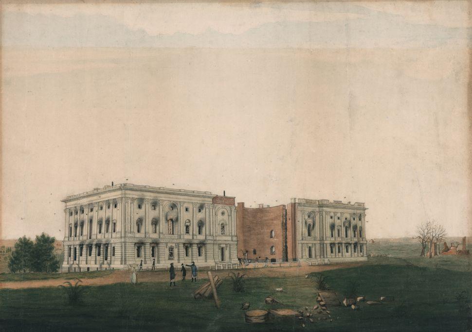 Σχέδιο μελανιού και ακουαρέλας του Τζορτζ Μούνγκερ, γύρω στο 1814. Το σχέδιο δείχνει τα ερείπια του Καπιτωλίου των ΗΠΑ μετά από προσπάθειες της Βρετανίας να κάψει το κτίριο.