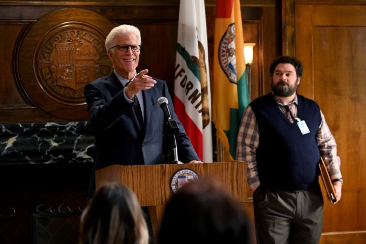 "Ted Danson (left) as Mayor Neil Bremer and Bobby Moynihan (right) as Jayden Kwapis in NBC's ""Mr. Mayor."""
