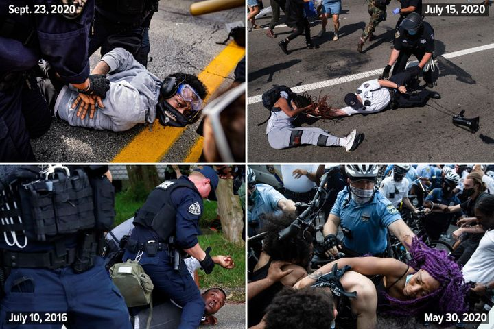 Top left: Riot police arrest antiracist protesters in Louisville, Kentucky, on Sept. 23, 2020. Top right: A Black Lives Matter protester and NYPD officers scuffle on the Brooklyn Bridge during a demonstration on July 15, 2020, in New York. Bottom left: A demonstrator is detained during protests in Baton Rouge, Louisiana, on July 10, 2016. Bottom right: Police and protesters clash on May 30, 2020, in Philadelphia during a demonstration over the death of George Floyd.