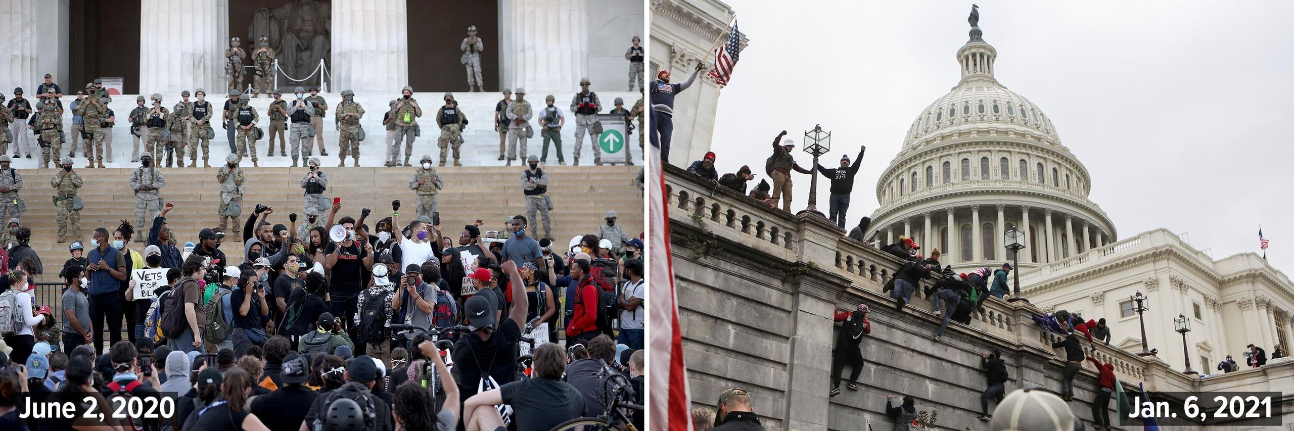 Left: Members of the D.C. National Guard stand on the steps of the Lincoln Memorial monitoring demonstrators during a peacefu