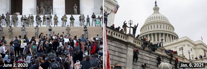Left: Members of the D.C. National Guard stand on the steps of the Lincoln Memorial monitoring demonstrators during a peaceful protest against police brutality and the death of George Floyd on June 2, 2020. Right: Supporters of U.S. President Donald Trump climb on walls at the U.S. Capitol during a riot against the certification of Joe Biden's election win on Jan. 6, 2021.