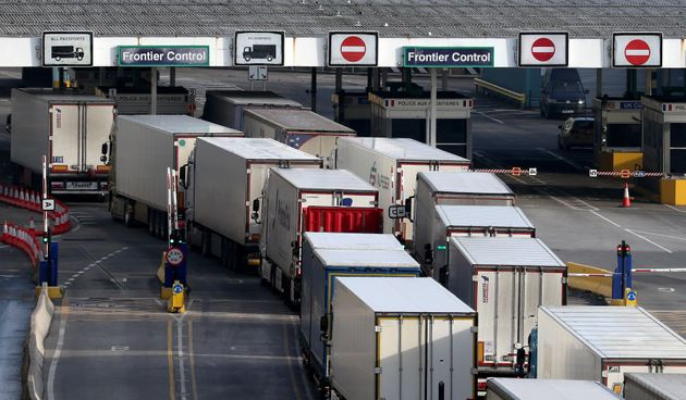 Lorries at the port of Dover in Kent a week on from the introduction of post-Brexit