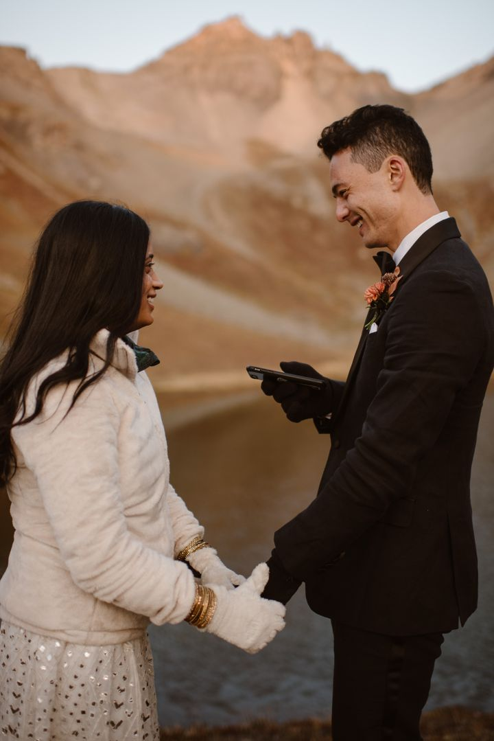 """They said their """"I do's"""" in San Juan National Forest in Colorado."""