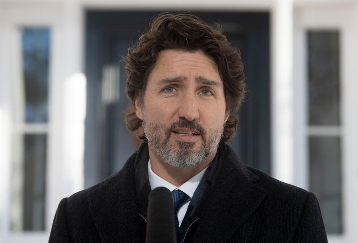 Prime Minister Justin Trudeau delivers his opening remarks  during a news conference outside Rideau cottage in Ottawa on Jan. 8, 2021.