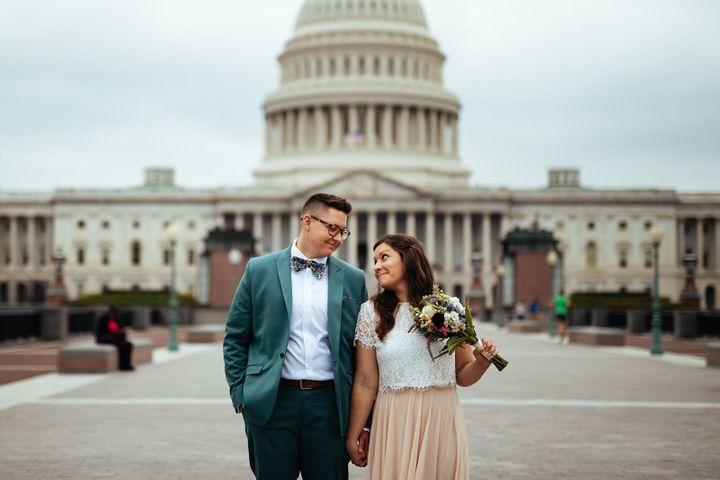The couple eloped outside the Supreme Court building in Washington, D.C.