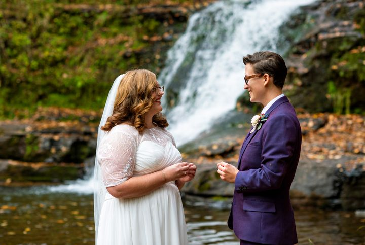 The couple initially planned to get married with 180 relatives and friends in attendance. They ended up tying the knot in a much more intimate ceremony.