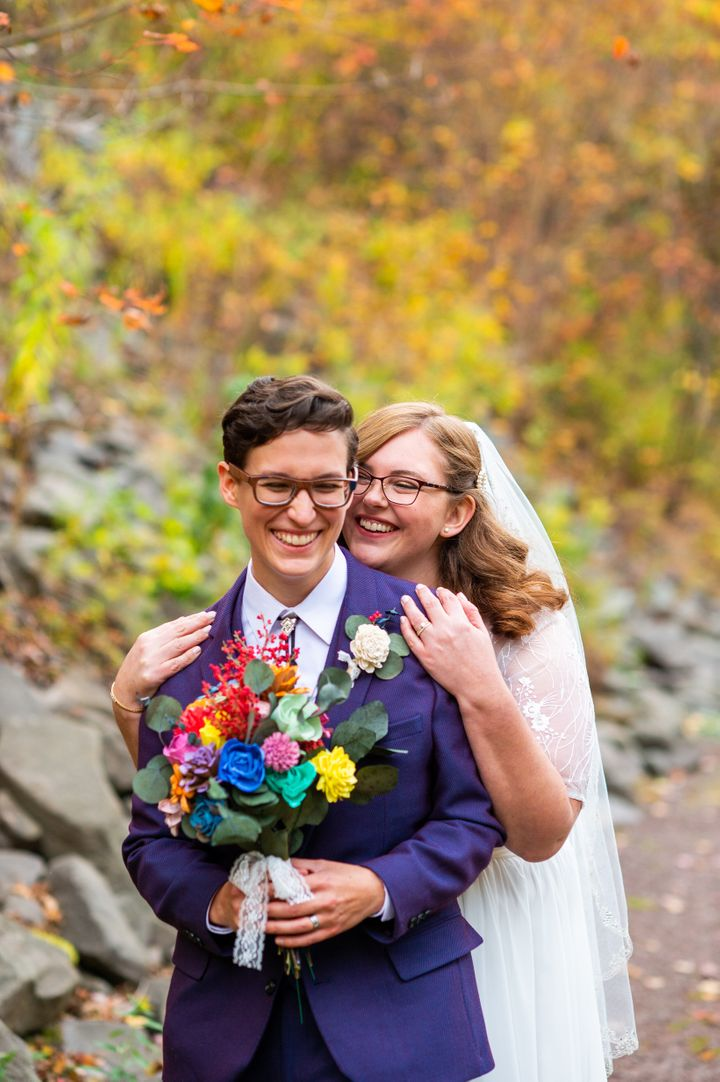 They exchanged vows at the base of Stratton Falls in Roxbury, New York.