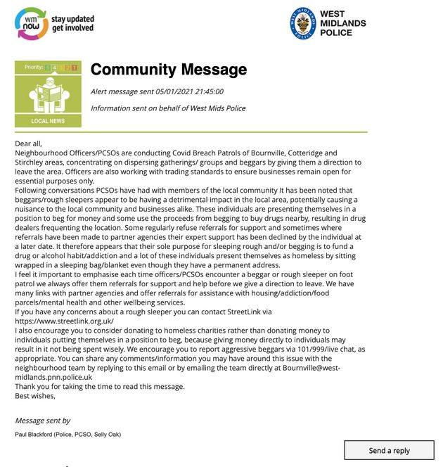 """A """"community message"""" sent by West Midlands"""