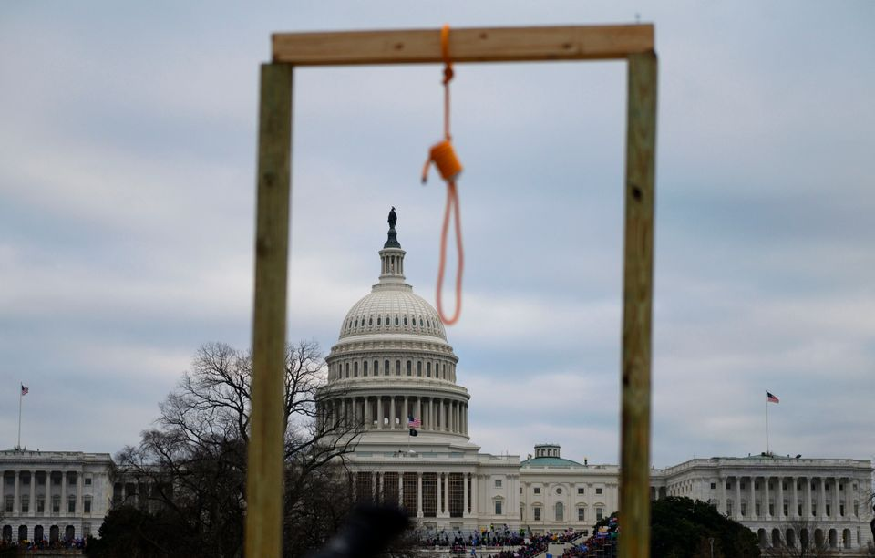 A noose hangs from a makeshift gallows as supporters of President Donald Trump riot at the U.S. Capitol...
