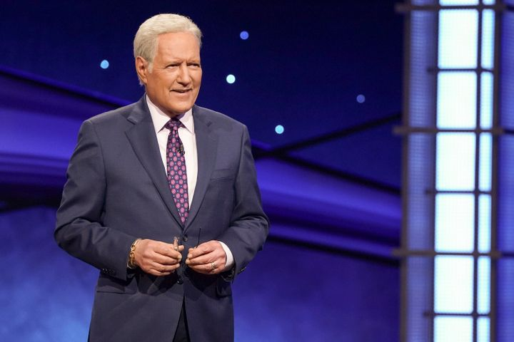 "Alex Trebek is seen hosting Jeopardy's ""Greatest of All Time"" tournament."