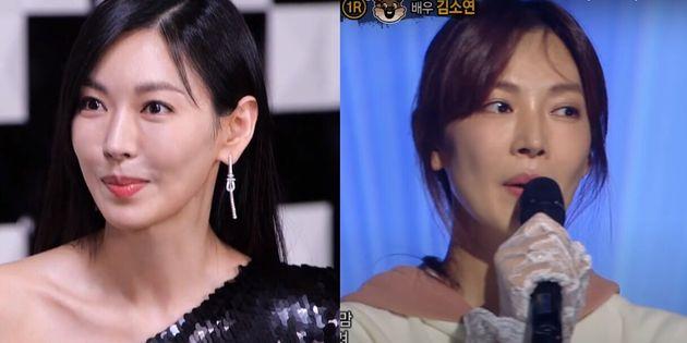 배우 김소연이 MBC 놀면 뭐하니?에 출연한 모습(좌)과 2016년 복면가왕에 출연했을 당시의
