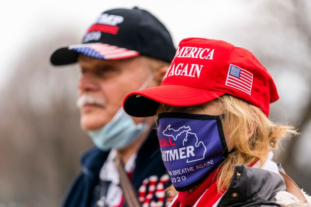 Supporters if President Donald Trump Elizabeth Nowakowski and her husband Tony Nowakowski from Troy,...