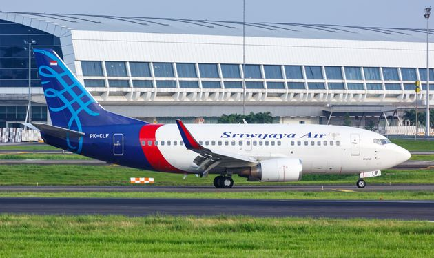 A Sriwijaya Air Boeing 737-500 airplane at Jakarta airport in Indonesia. A Sriwijaya jet carrying 62...