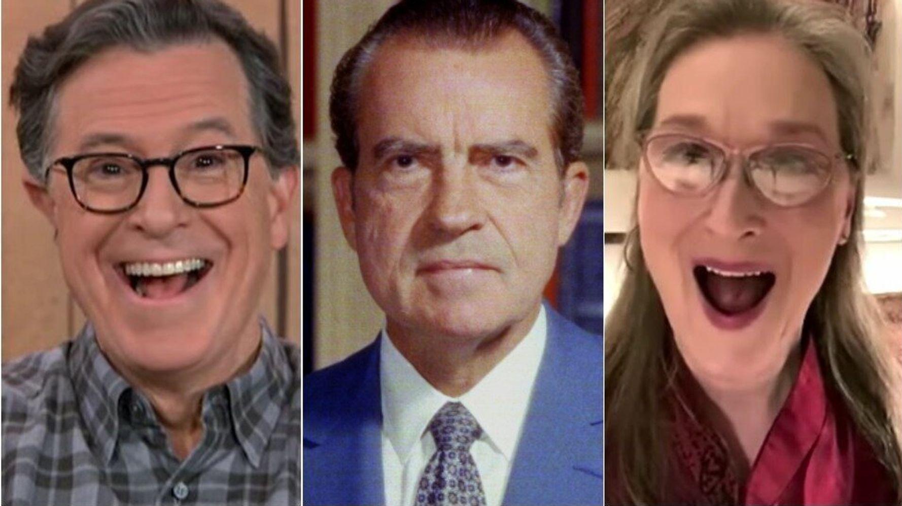 Мерил Стрип и Стивен Колберт поразили друг друга странными историями о Никсоне