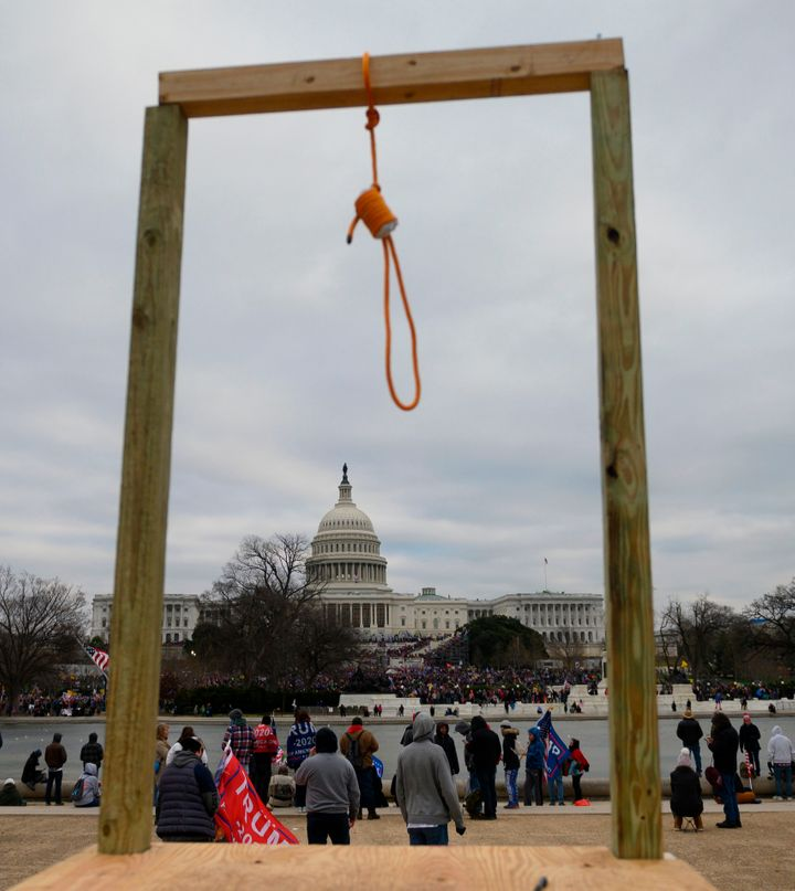 A noose on makeshift gallows outside the U.S. Capitol on Wednesday, when supporters of President Donald Trump forced their way into the building. Much of the imagery that has emerged in subsequent days has captured just how violent the siege was.